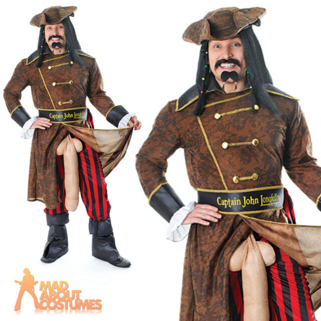Adult Pirate Captain John Longfellow Rude Stag Costume Fancy Dress Outfit New