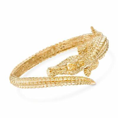 AVENTURA 18K Gold Plated Swamped Alligator Hinged Bangle Bracelet ITALY MADE