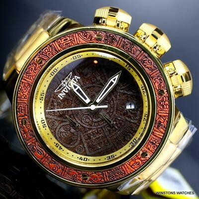 Invicta Subaqua Sea Dragon Aztec Brown Wood Gold Plated Chrono 52mm Watch New Adult Brown Dragon