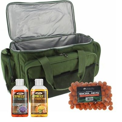 Large Carp Fishing Insulated Carryall Holdall Tackle Bag NGT + Boilies + 2 Glugs