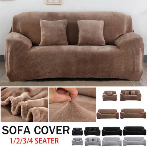 1-4 Sitzer Sofa Überwürfe Sofabezug Stretch Samt Sofahusse für Sofa Universal
