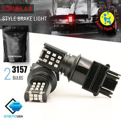 2x 3157/4114LL Bright Red Flash Strobe Blinking 24-LED Brake Tail Light Bulbs