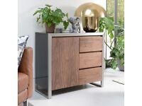Dwell Nova Living Room Furniture Set - Walnut, Black Gloss and Brushed Steel