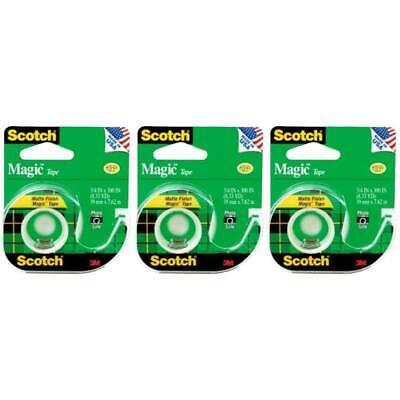 Scotch Magic Tape W Dispenser Refillable 105 Transparent Matte Write On 3-pack