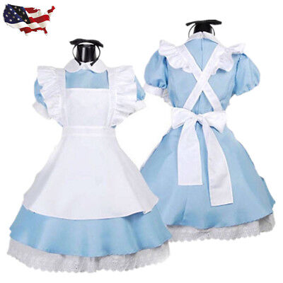Halloween Costumes Wonderland (Wonderland Alice Blue Maid Costume Women Lolita Dress Halloween Fancy)