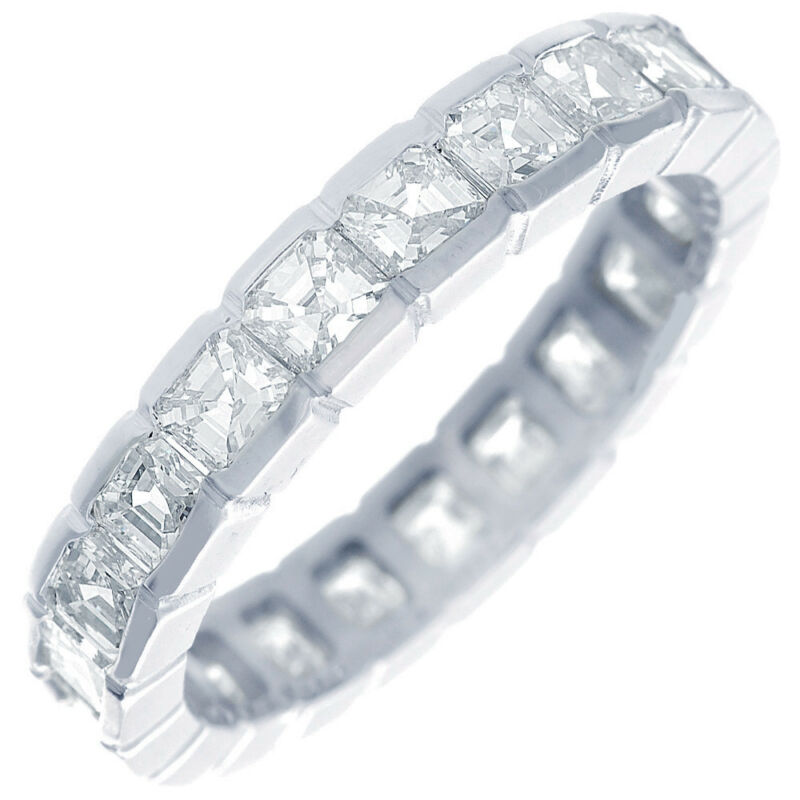 Eternity Asscher Cut 18k Gold 6.00 Carat Dia Certified Diamond Ring