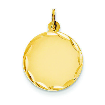 (14K Yellow Gold Etched .027 Gauge Engravable Round Disc Charm Pendant MSRP $429)