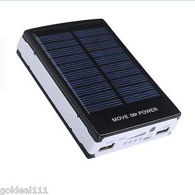 30000 mAh Travel Solar Battery Charger Dual USB Power Bank For Cell
