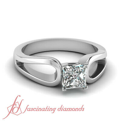 1/2 Carat Princess Cut Solitaire Platinum Diamond Rings For Women GIA Certified
