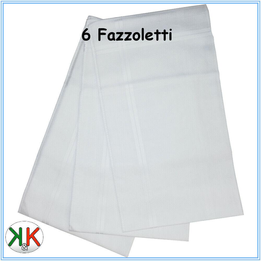 Fazzoletti da uomo bianchi cotone 100 % misure 44 x 44 modello Cervinia 6 Pz.
