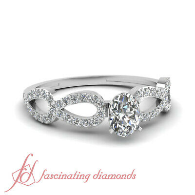 Split Shank Pave Set Ladies Diamond Rings With Oval Shaped And Round 3/4 Ct GIA