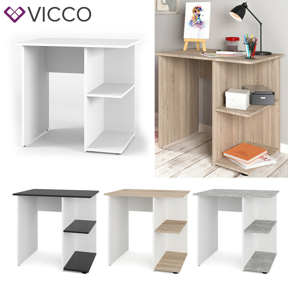 VICCO Schreibtisch SIMPLE Weiß Arbeitstisch Computer Kinder Büro Ablage Tisch