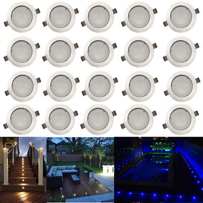20 Pack LED Deck Path Light 31mm Outdoor Garden Stairs Yard Porch Ground Lamps