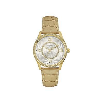 Guess Women's BROADWAY BEIGE LEATHER BAND STEEL CASE QUARTZ WATCH W0768L2