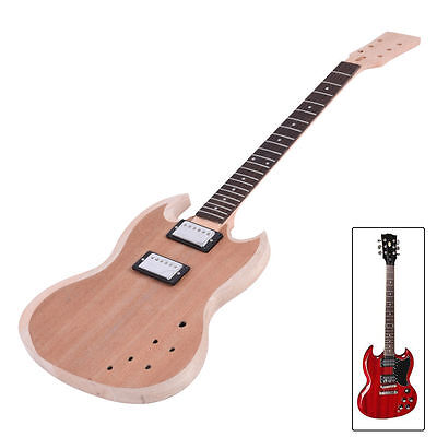 Unfinished Diy Electric Guitar Kit Mahogany Guitar Body Neck 22 Frets 6 Strings