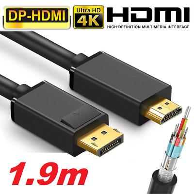 ✅Display Port Kabel DP Stecker zu auf HDMI Standard Umwandler 1080p 2160p 2K 4K✅
