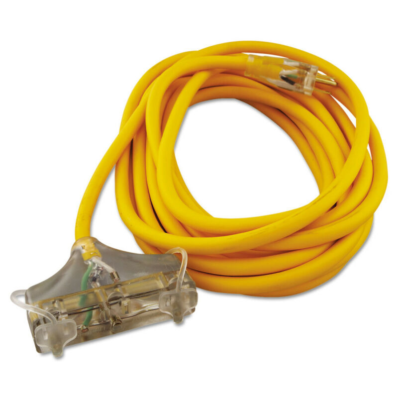 Coleman Cable Polar/solar Outdoor Extension Cord, 25ft Three-Outlets, Yellow New