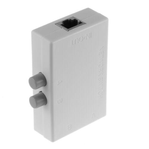 【US】Mini 2 Ports A B Ethernet Network Switch Switcher Switche Splitter Box White