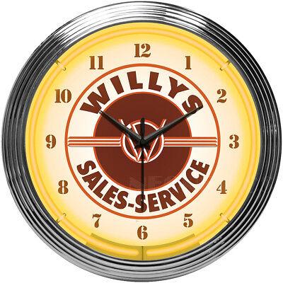 - Neon Clock Willys Aero Overland Jeep Knight MB Wagon Pickup CJ3B CJ5 shop sign