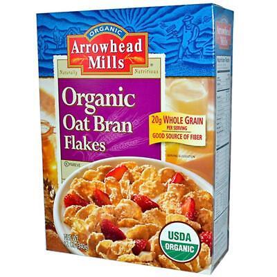 Organic Oat Bran Flakes - Arrowhead Mills-Organic Oat Bran Flakes Cereal (12-12 oz bags)