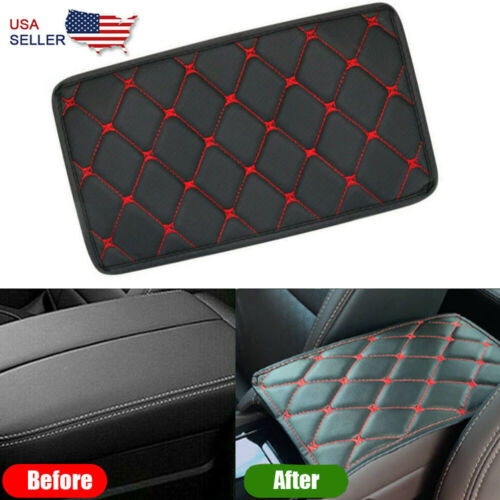 Auto Armrest Pad Cover PU Leather Cushion Center Console Box Mat Red Car & Truck Parts