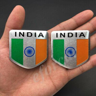 2x India Indian Shield Flag Car Emblem Badge Motorcycle Gas Tank Sticker Decal
