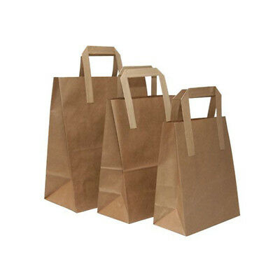 Paper Bags Brown Kraft Flat Handle Party Carrier Light Weight Strong 7x8x4