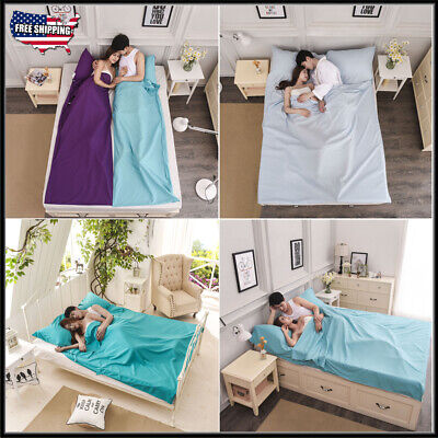 Large Portable Cotton Liner Sleeping Bag Hostel Sheet Sack Travel Camping Sheet  ()