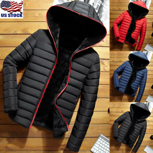 men hooded long coat winter warm padded