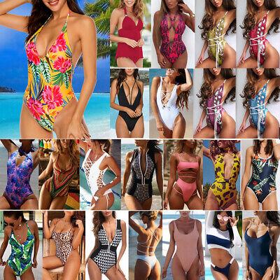 Womens Sexy One Piece Halter Neck Monokini Padded Bra Bikini Swimsuit (Ladies Sports Swimwear)