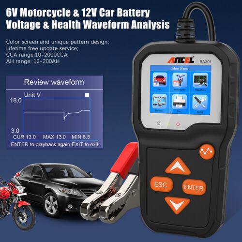 ANCEL BA301 Battery Tester 6/12V Battery Analyzer 100-2000 CCA Cranking Charging