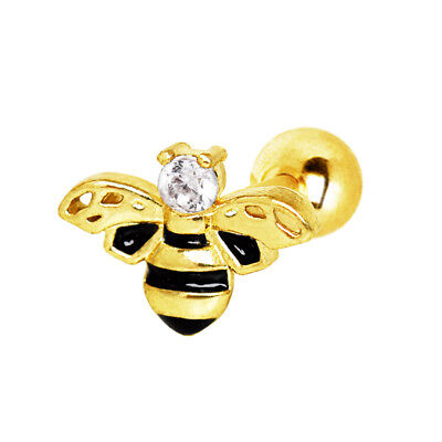 Gold Plated Bumble Bee Cartilage / Helix Bar - Ear Stud~ 6mm x 1.2mm - Bumble Bee Ears