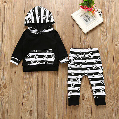 Halloween Outwear Toddler Baby Boys Striped Tops Hoodie Pants Outfits 2Pcs (Halloween Baby Outfits)
