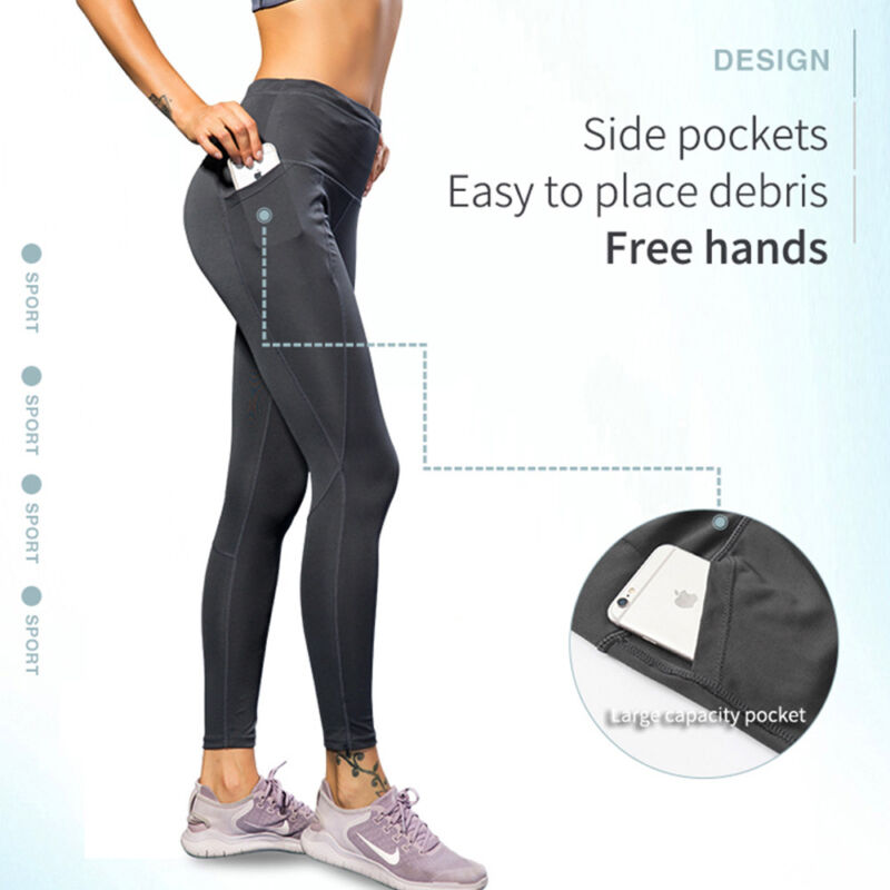 Women High Waist Yoga Leggings Pocket Pants Fitness Sport Gym Workout Athletic G 4