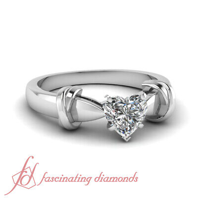 Tapered Cathedral Solitaire Engagement Ring 0.80 Ct Heart Shaped SI2 Diamond GIA