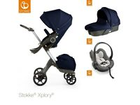STOKKE XPLORY TRAVEL SYSTEM (pushchair + carry cot + car seat + extras)