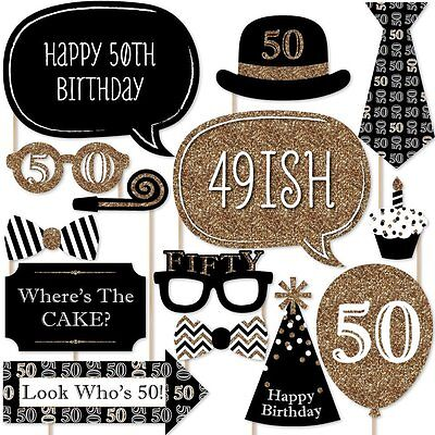 20pcs 50th Birthday Black Gold Birthday Party Photo Booth Props Favour Kit DIY
