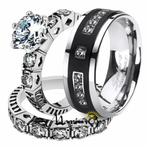 His & Her 3pc Stainless Steel 3.10 Ct Cz Bridal Set & Men...