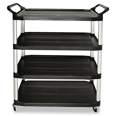 Rubbermaid Open Sided Utility Cart 4-shelf 40-58wx20dx51h Black 409600bla New