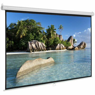 Upgraded 100inch HD Pull Down Manual Projector Screen-White Matte Indoor/Outdoor