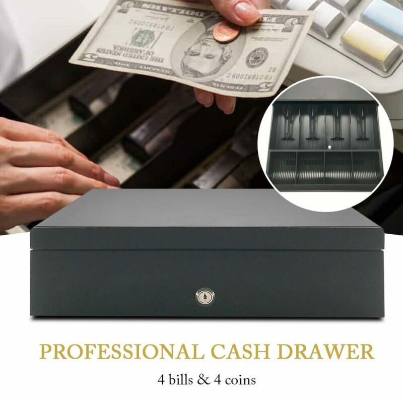 Cash Drawer Money Box Till Removable Insert w/ 4 Bill 4 Coin Tray POS Printers
