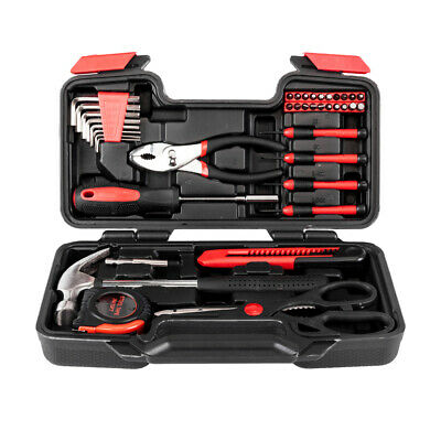 39 pcs Tools Kit Set Utility Repair Fixing Tool Mixed Travel Garage Red/Orange Travel Tool Kit