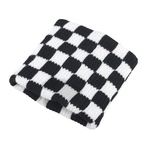 New Black White Checked Emo Punk Rock Wrist Band Sweat Terry Wristband Checkered