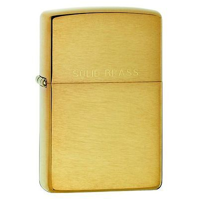 Zippo 204,   Brushed Brass w/Solid Brass Full Size (Brushed Solid Brass Lighter)
