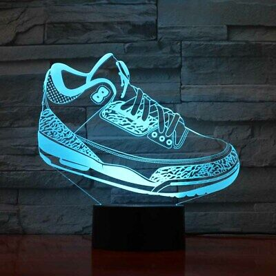 3D sports shoes acrylic 7 colors change led table Desk night lights lamp Touch