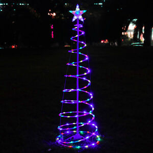 5 ft color changing christmas led spiral tree light xmas holiday decor battery