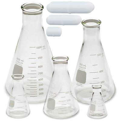 Corning Pyrex 4980-pack Narrow Mouth Erlenmeyer Flask Set W Magnetic Stir Bar