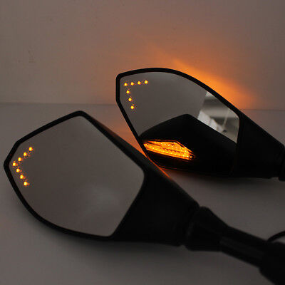 2X 8MM 10MM MATTE BLACK MOTORCYCLE WING MIRRORS LED TURN SIGNAL INTEGRATED LIGHT