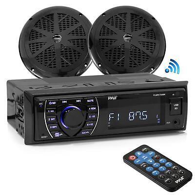 Radio stéréo avec récepteur marin Bluetooth (2) Haut-parleurs étanches 5.25 '', noir