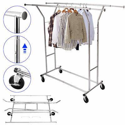 Double Bar Commercial Grade Portable Cloth Rolling Garment Rack Hanger Holder